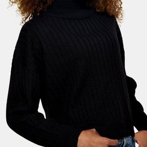 Topshop Black Knitted Turtleneck With Wool